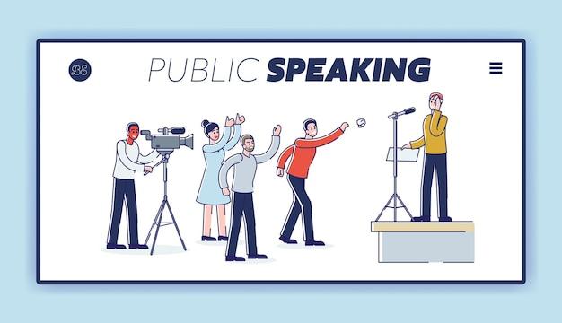 Spreken met de bestemmingspagina van het boze publiek met een presenterende man