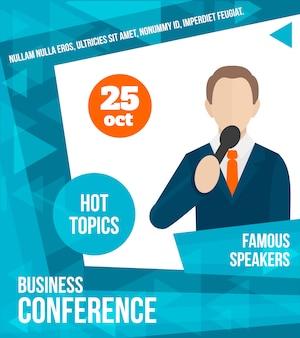 Spreken openbare affichemalplaatje, handelsconferentie