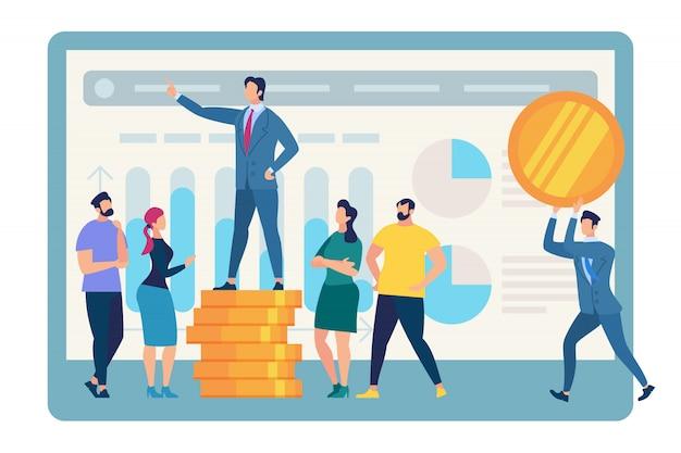 Sprekende business coach staan op gouden muntenstapel