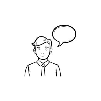 Spreker met toespraak bubble overzicht doodle vector pictogram. conferentie spreker schets illustratie voor print, web, mobiel en infographics geïsoleerd op een witte achtergrond.