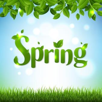 Spring banner met groene takken en gras Premium Vector