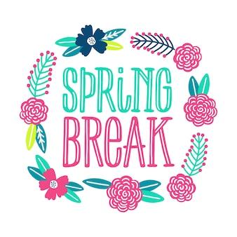 Spring break belettering met bloemen