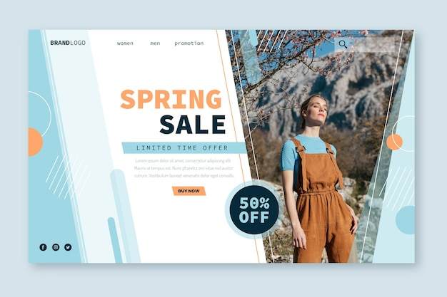 Spring model verkoop bestemmingspagina websjabloon