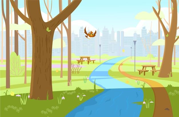Spring park landschap cartoon afbeelding
