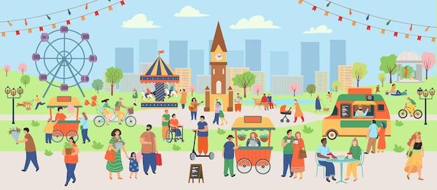 Spring park met mensen. grote groep mensen in het voorjaar. mensen lopen, eten in een café, drinken, honden uitlaten, fietsen, rijden op een scooter, liedjes zingen. platte cartoon vectorillustratie.
