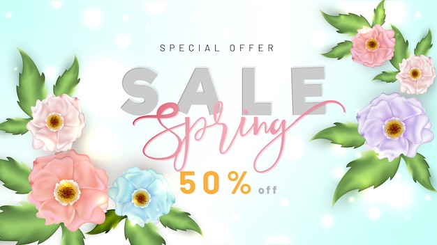 Spring sale banner of posterontwerp