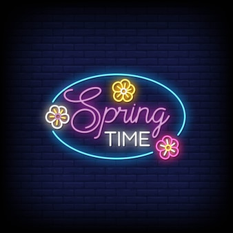 Spring time neon signs style text