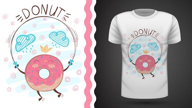 Springen donut idee voor print t-shirt.