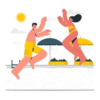 Springen in de illustratie van het zwembadconcept Gratis Vector