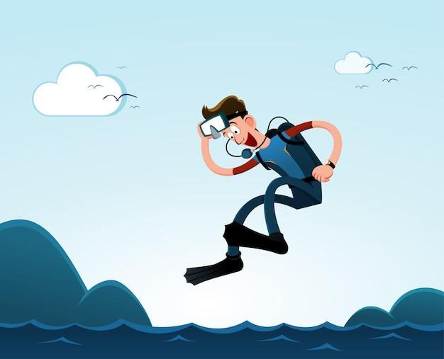 Springen naar de zee