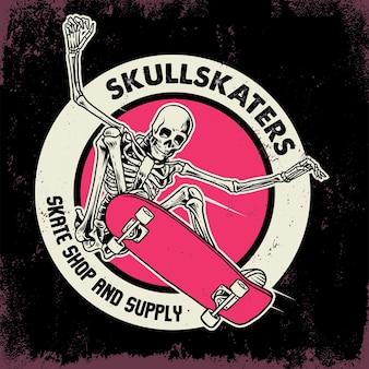 Springen schedel rijden skateboard badge