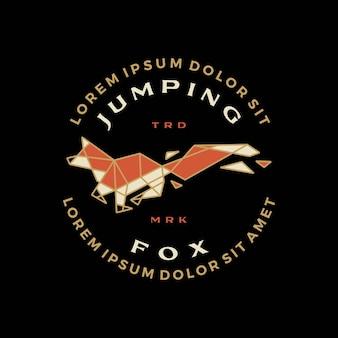 Springen vos geometrische t-shirt badge vintage embleem tee merch logo vector pictogram illustratie
