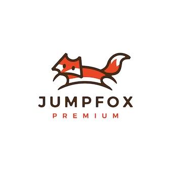 Springen vos overzicht lijntekeningen kleur logo vector pictogram illustratie