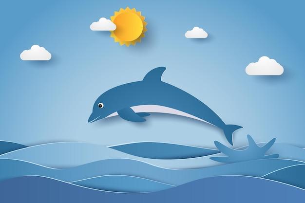 Springende dolfijn in zeegolven in papierkunststijl