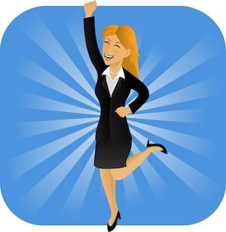 Springende gelukkige bussiness-vrouw