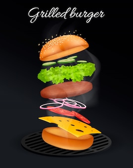 Springende hamburgeradvertenties, heerlijke en aantrekkelijke cheeseburger met verfrissende ingrediënten in 3d illustratie op zwarte. .