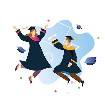 Springende mensen van twee collagestudenten in het onderwijsthema van de graduatiedag