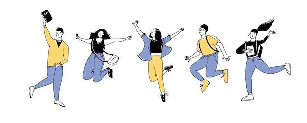 Springende studenten groep vrolijke jonge mannen en vrouwen met rugzakken en boeken