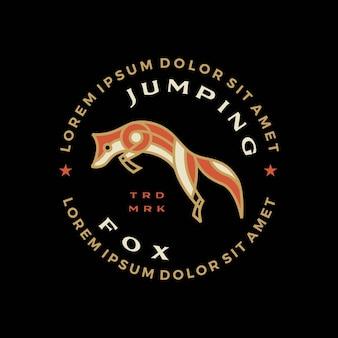 Springende vos t-shirt badge vintage embleem tee merch logo vector pictogram illustratie