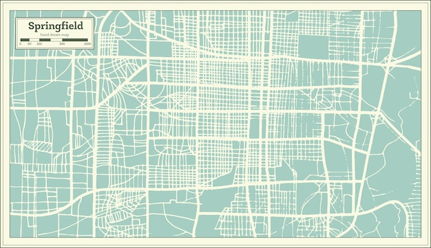 Springfield usa stadsplattegrond in retro stijl. overzicht kaart. vectorillustratie.