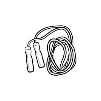 Springtouw hand getrokken schets doodle pictogram. activiteit, cardio-oefening, fitness en gezondheidsconcept overslaan