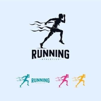 Sprint running atletiek marathon logo ontwerpsjabloon