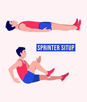 Sprinter sit up oefening vrouw workout fitness aerobic en oefeningen
