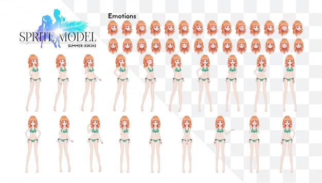 Sprite karakter van volledige lengte voor game visuele roman. anime-mangameisje, stripfiguur in japanse stijl. in een zomerbikini-zwempak. set van emoties