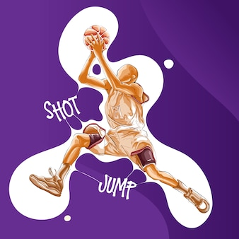 Sprong schot basketbalspeler