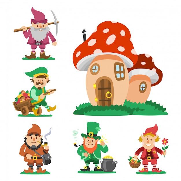 Sprookje fantastische kabouter dwerg elf karakter vormt magische kabouter schattig sprookje man illustratie