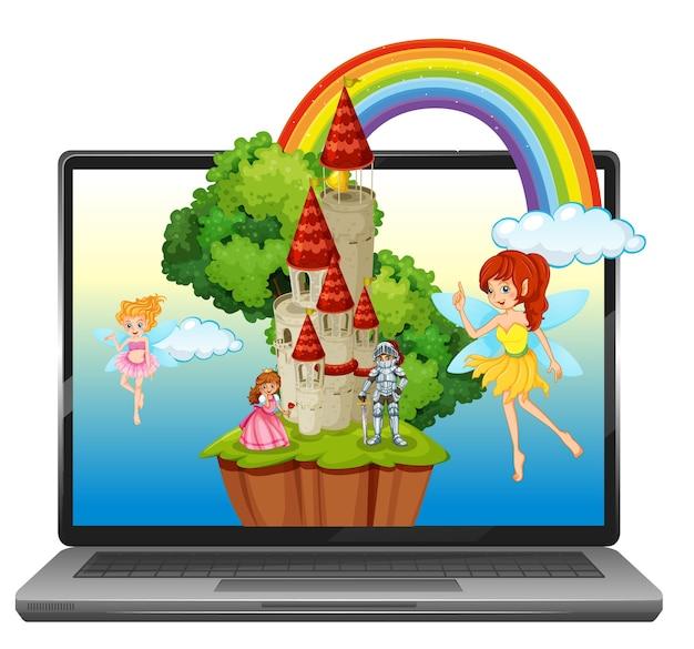 Sprookje op laptop achtergrond