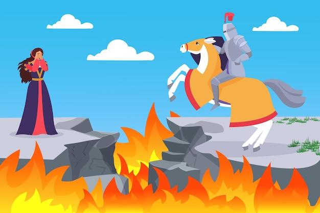 Sprookje van het redden van prinses ruiter ridder paard om huilende prinses te redden