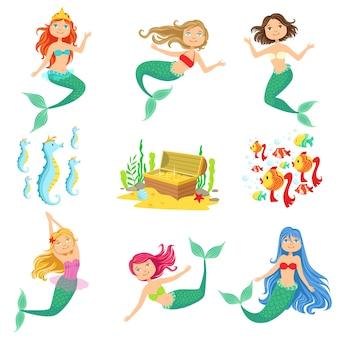 Sprookje zeemeerminnen en gerelateerde objecten instellen