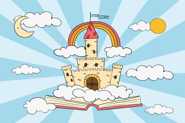 Sprookjeconcept met kasteel en regenboog