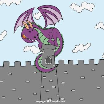 Sprookjes draak en kasteel