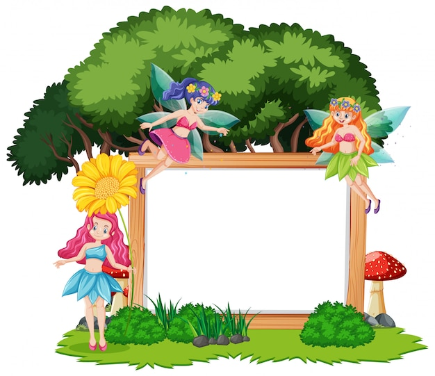 Sprookjes in bos met lege banner cartoon stijl op witte achtergrond
