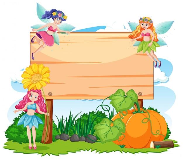 Sprookjes in tuin met lege banner cartoon stijl op witte achtergrond