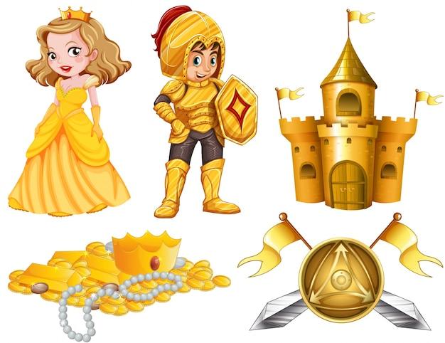 Sprookjes ingesteld met ridder en prinses illustratie
