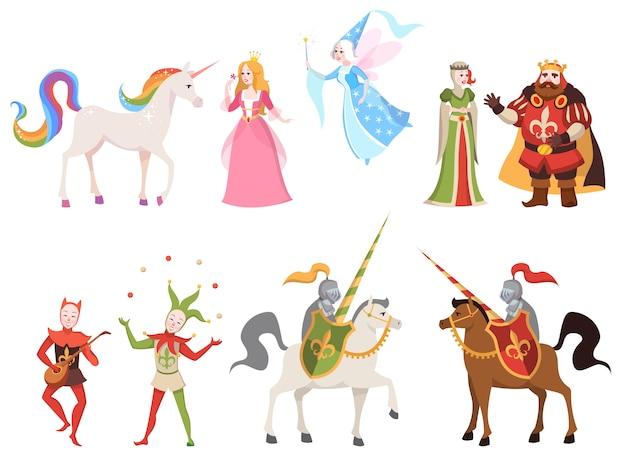 Sprookjes karakters. tovenaar ridder koningin koning prinses prins middeleeuws sprookjeskasteel draak magie tekenfilm, illustratie