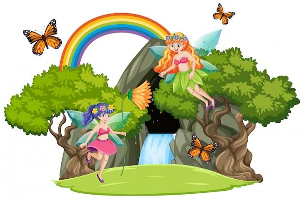 Sprookjes met watervalhol en regenboog op witte achtergrond worden geïsoleerd die