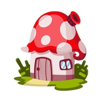 Sprookjesachtig huis. cartoon huis in de vorm van paddestoel.
