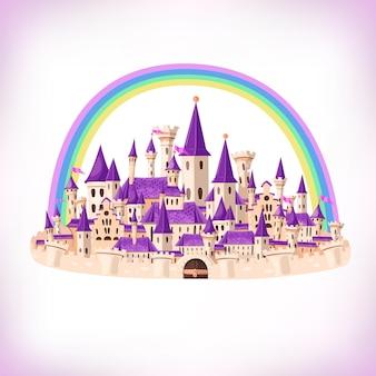 Sprookjesachtige cartoonkasteel schattige cartoonkasteel fantasie sprookjespaleis met regenboog