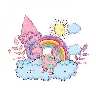 Sprookjesachtige dinosaurus met kasteel en regenboog