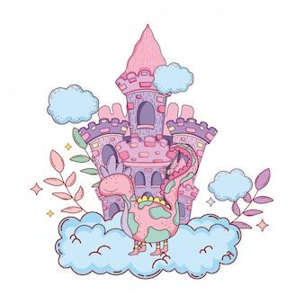 Sprookjesachtige dinosaurus met kasteel in wolken