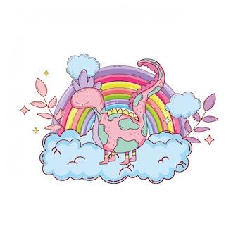 Sprookjesachtige dinosaurus met regenboog in de wolk