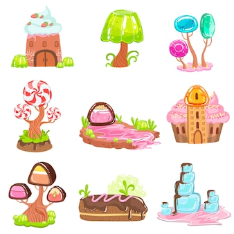 Sprookjesachtige landschapselementen gemaakt van snoep en gebak