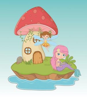 Sprookjesachtige scène met fee en zeemeermin