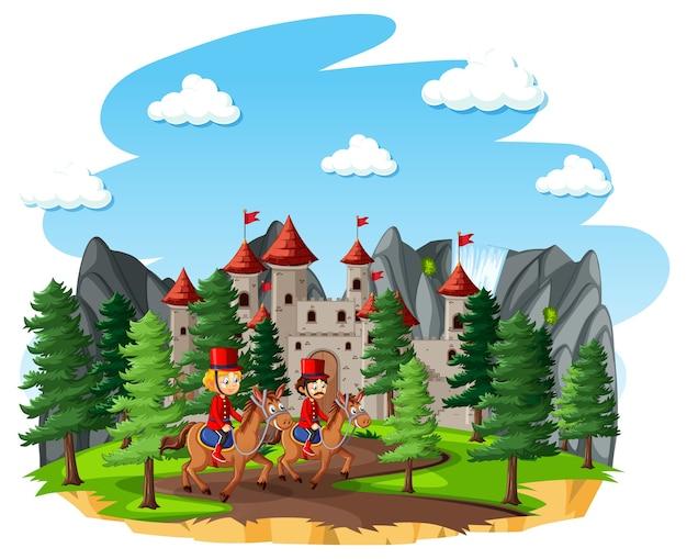 Sprookjesachtige scène met kasteel en koninklijke garde van een soldaat