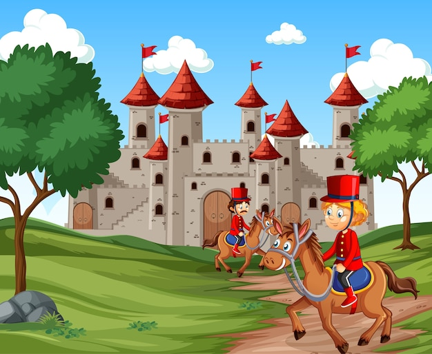 Sprookjesachtige scène met kasteel en soldaat koninklijke wachtscène