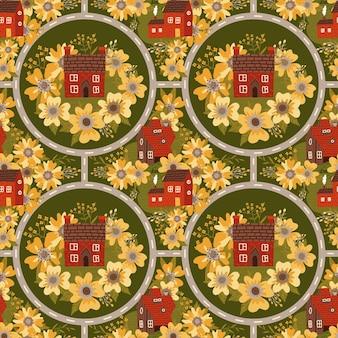 Sprookjesachtige stad naadloos patroon met kleine huizen, grote bloemen en ronde wegenkaart